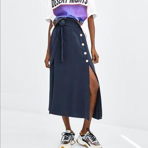 Zara dark blue midi side buttoned skirt